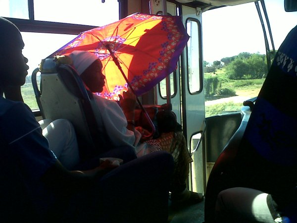 A granny on the bus. She also pilfered the umbrella from another passenger. Grannies have power.
